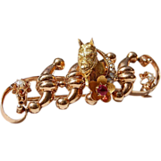 REDUCED Rare Art Nouveau 14K Gold Equestrian Brooch
