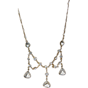 REDUCED Vintage Gold Tone Crystal Bib Necklace