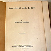 SALE Sweetness And Light By Matthew Arnold