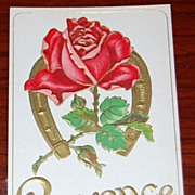 Vintage Postcard Embossed Horseshoe Rose Lawrence