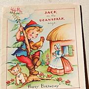 Vintage Jack On The Beanstalk Happy Birthday Card