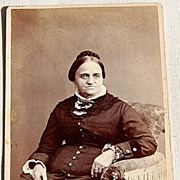REDUCED Victorian Cabinet Card Full Figure Photo Woman With Stern Face