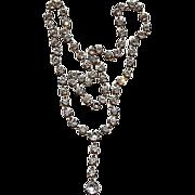 REDUCED Fabulous Silver Tone Metal Prong Bezel Set Sparkling Paste Necklace