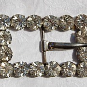 Vintage Silver Tone Metal Clear Paste Rhinestone Buckle
