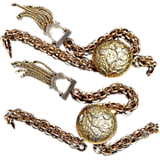 REDUCED Fabulous Unusual Pair Gold Filled Brides Bracelets