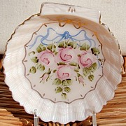SALE Vintage Hand Painted Shell Shape Dish
