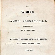 SALE 1825 Volume III The Works Of Samuel Johnson, L. L. D.