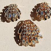 SALE Vintage Gold Tone Metal Rhinestone & Faux Pearl Shell Motif Brooch & Clip Earring