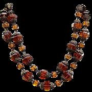 REDUCED Fabulous Art Deco Czechoslovakia Faceted  Topaz Color Glass Stone Necklace