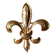 REDUCED Vintage 14K Gold Fleur D Lis Large Watch Pin/Brooch