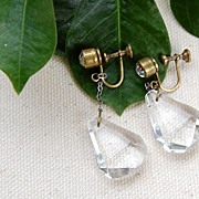 REDUCED Vintage Faceted Faux Crystal Tear Drop Dangle Earrings