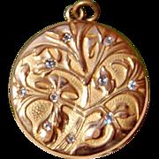 Wonderful Art Nouveau Gold Filled Paste Double Photo Locket