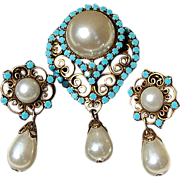 REDUCED Vintage Faux Pearl & Glass Turquoise Brooch/Pendant & Clip Earring Demi Parure
