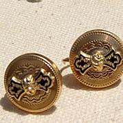 Victorian 9K Gold Black Enamel Screwback Earrings
