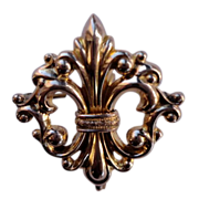 Vintage Gold Filled Fleur D Lis Watch Pin Brooch