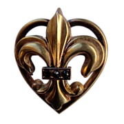 Vintage Gold Filled Fleur D Lis Heart Watch Pin Brooch