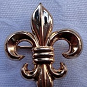 Vintage10K Gold Filled Fleur D Lis Watch Pin Brooch