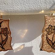 Vintage Gold Filled Floral Black Enamel Earrings