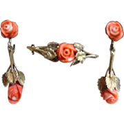 REDUCED Vintage European Gold Vermeil Floral Coral Earrings And Brooch