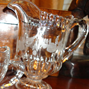 REDUCED Vintage Etched Glass Pitcher Creamer
