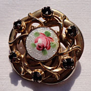 Vintage Gold Tone Metal Hand Painted Rose Rhinestone Brooch