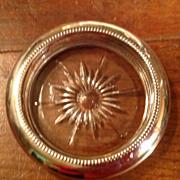 SOLD Vintage Leonard Clear Crystal Silverplate Rim Coaster