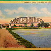 Vintage 1943 Long-Allen Bridge Over Red River Alexandria Louisiana Postcard