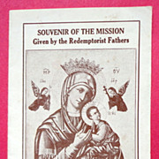 Souvenir  Of The Mission Given By The Redemptorist Fathers
