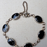 REDUCED Vintage Gold Tone Metal & Faux Black Onyx Link Bracelet
