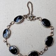 REDUCED Vintage Gold Tone Metal & Faux Black Onyx Link Bracelet