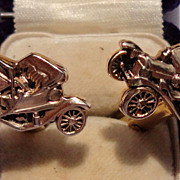 SALE Vintage Gold Tone Metal Old Automobile Cuff Links