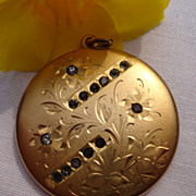 SALE PENDING Large Vintage Gold Filled Paste Rhinestone Double Photo Locket