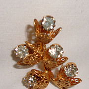 SALE Lovely Vintage Gold Filled Rhinestone Floral Brooch
