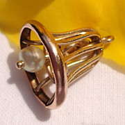 SALE Vintage Gold Filled Faux Pearl Wedding Bell Charm