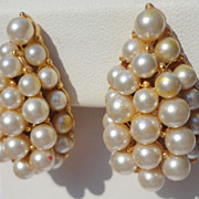 REDUCED Vintage Faux Pearl Pear Shape Clip Earrings
