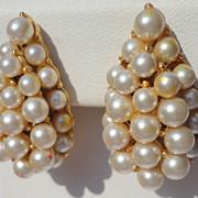 SALE Vintage Faux Pearl Pear Shape Clip Earrings