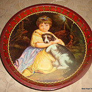 SALE Wonderful Vintage Girl & Puppy Tin Tray
