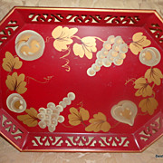 SALE Vintage Red Tole Tray