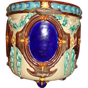 Wonderful Antique  French Majolica Cachepot Planter