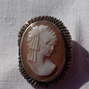 SALE Vintage 800 Silver Cameo Brooch Pendant