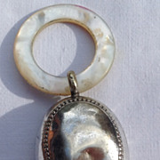 REDUCED Victorian Silver On Copper MOP Teething Ring