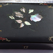 SALE Antique Victorian Papier Mache Jewelry Box With Alabone Inlay