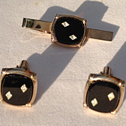 REDUCED Vintage Silver Tone Black Lucite Diamond Rhinestone Cuff  Links & Tie Bar Set