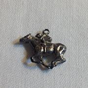 REDUCED Vintage Sterling Silver  3D Horse & Jockey Charm