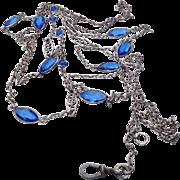 REDUCED Antique Victorian Sapphire Blue Crystal Paste Sautoir/Muff/Lorgnette Chain