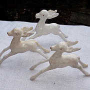 SALE Set Of Three Vintage  Rudolph Reindeer Figures