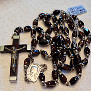 REDUCED Vintage Lourdes Reliquary  Silver Tone Metal Art Glass Rosary