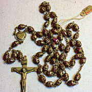 SOLD Vintage Gold Tone Metal Double Ornate End Cap Large Rosary