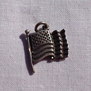 Vintage Sterling Silver American Flag Charm