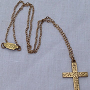 Lovely Vintage Gold Filled Cross & Chain